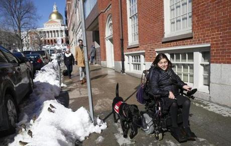 Shadow, Carolyn Barrett's service dog, helps guide her down to Boston Common. Barrett says there are dogs that are clearly not well-trained walking around with service dog IDs.